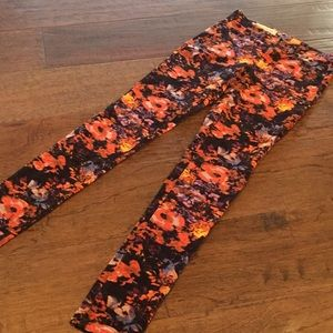 Flowered corduroy straight leg jeans